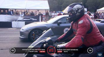 Suzuki GSX1300R vs Nissan GT-R Switzer R850