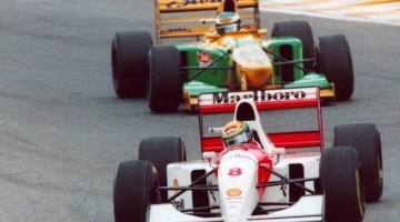 F1 Battle -  Senna vs Prost vs Schumacher Silverstone 1993