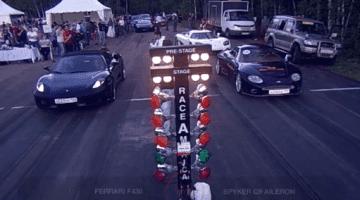 Ferrari F430 vs Spyker C8 Dragrace