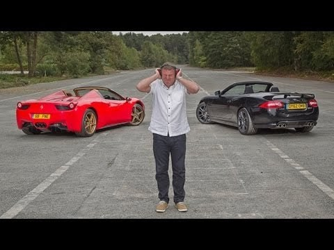 Ferrari 458 Spider vs Jaguar XKR-S Convertible