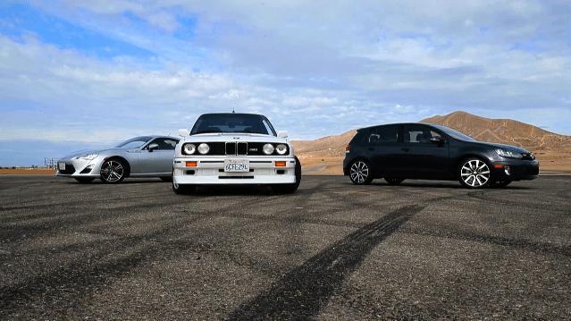 BMW E30 M3 vs Scion FR-S vs VW Golf GTI