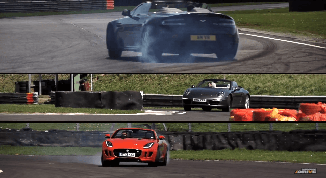 DRIVE - F-Type vs 911 Carrera S Cabrio en V8 Vantage Roadster