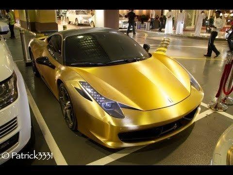 Gouden wrap op Ferrari 458 Italia