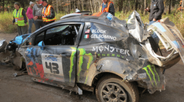 De Crash waardoor Ken Block de Rally America titel verloor
