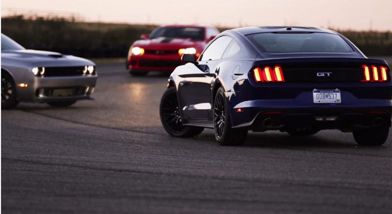 Trio Test: Challenger Hellcat vs Camaro Z28 vs Mustang GT