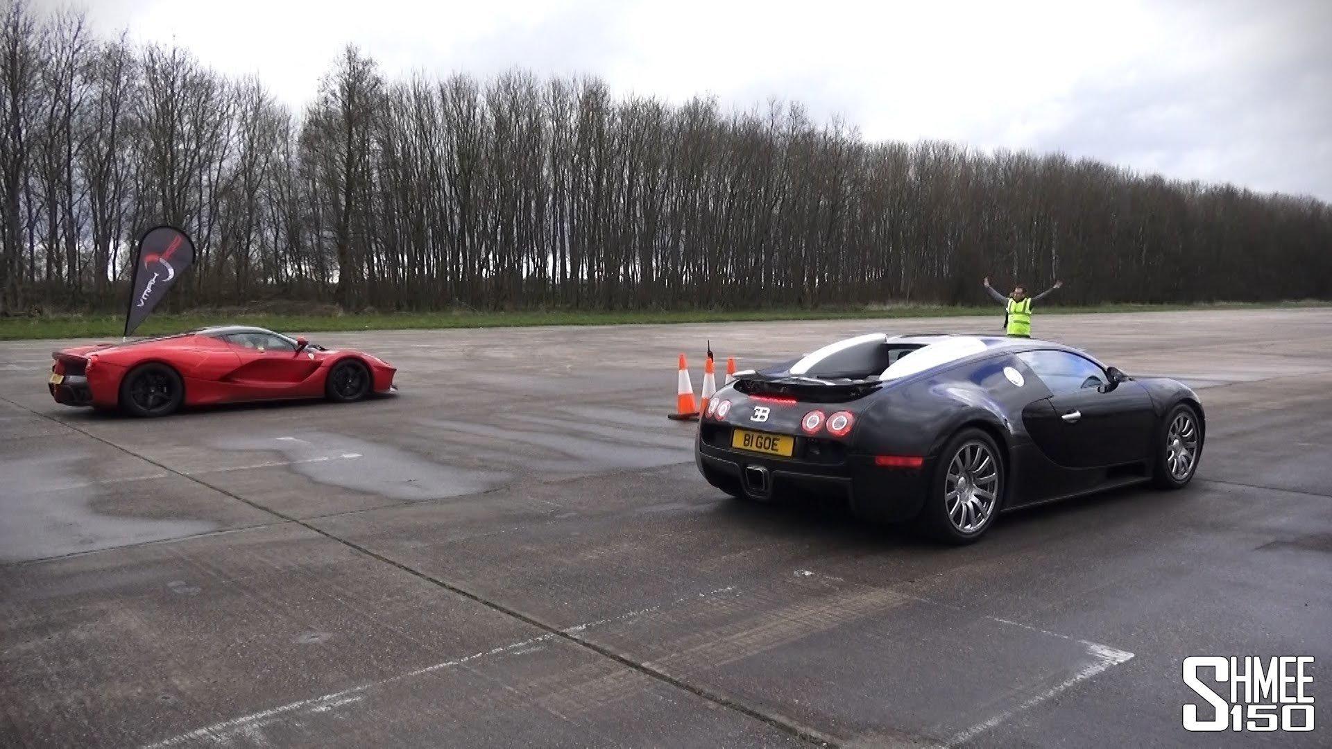 Veyron en LaFerrari houden dragrace tot 330 km/h