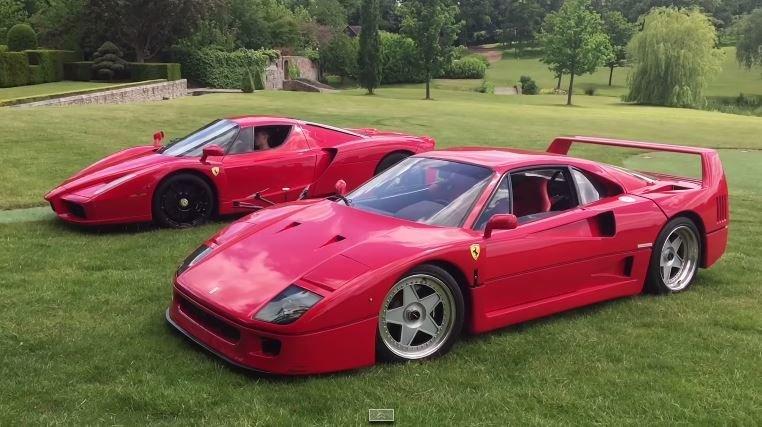 Ferrari F40 en Enzo spelen in de achtertuin
