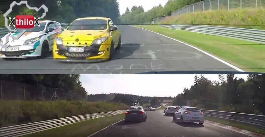 Megane RS slalomt zich langs een crash op de Nürburgring