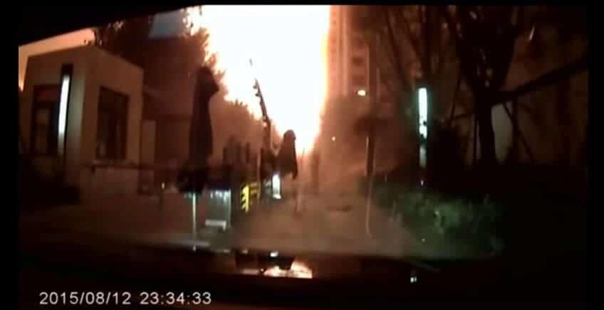 dashcam film explosie tianjin