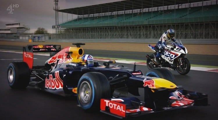 Guy Martin op een Superbike vs David Coulthard in een Red Bull F1