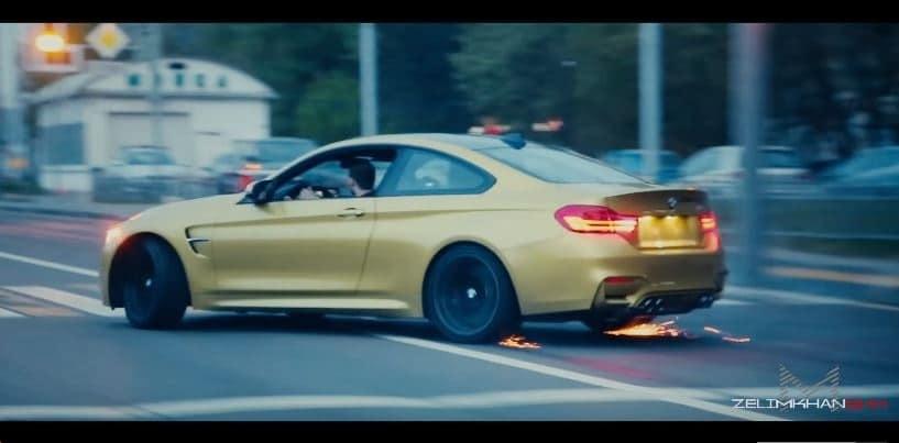 BMW M4 drift als een gek door Moskou