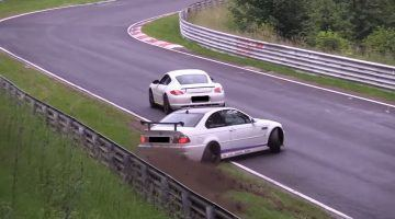 BMW E46 M3 vergist zich in Porsche Cayman