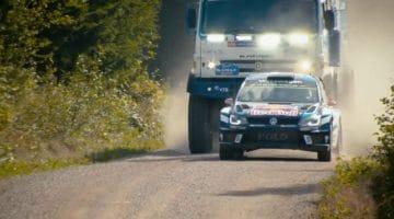 Kamaz truck achtervolgt Polo R WRC