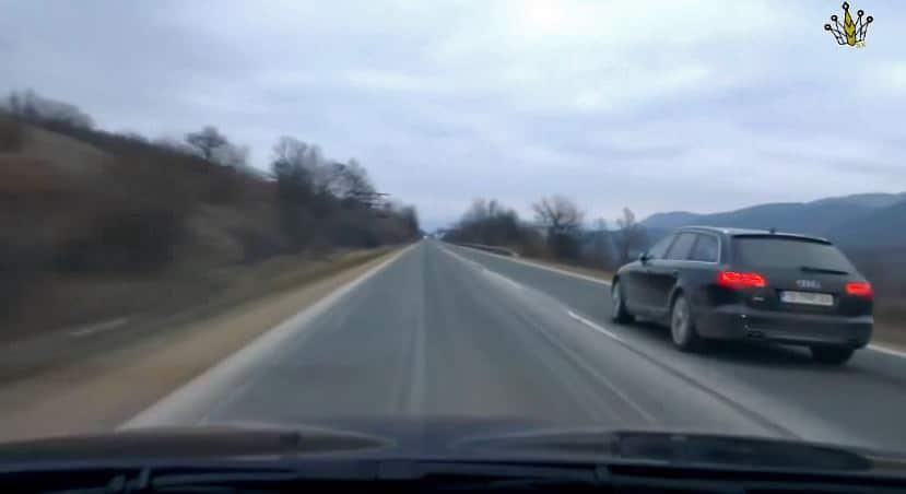 Audi S6 V10 & BMW M5 V8 spelen gevaarlijk spel