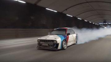 BMW E30 Turbo hult Stockholm in bandenrook