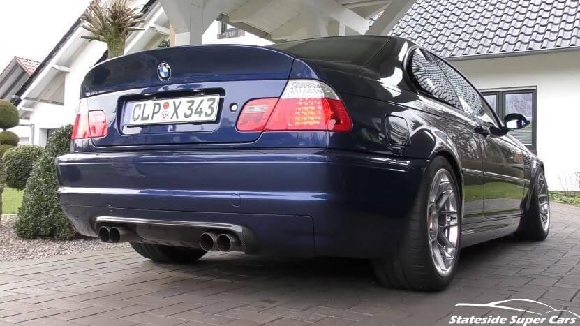 BMW E46 M3 met custom uitlaatsysteem
