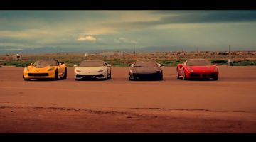 Ferrari 488, McLaren 675LT, Corvette Z06 en Huracan gaan Head-2-Head