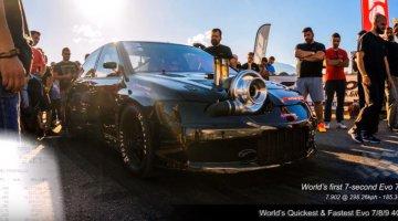 Extreme Tuners Lancer Evo klokt 7.9 sec op de kwart mijl