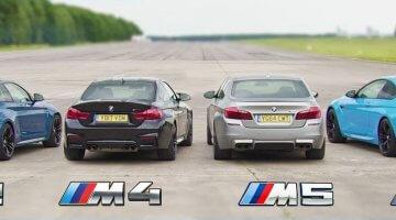 BMW M2 vs M4 vs M5 vs M6 Dragrace