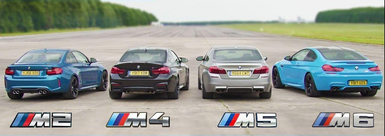 BMW M2 vs M4 vs M5 vs M6 Dragrace