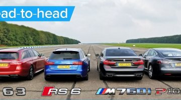 BMW M760Li vs Tesla Model S vs Audi RS 6 vs Mercedes-AMG S Estate