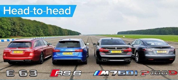 BMW M760Li vs Tesla Model S vs Audi RS 6 vs Mercedes-AMG S Estate