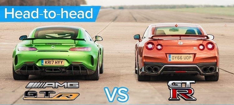 Mercedes-AMG GT R vs Nissan GT-R dragrace