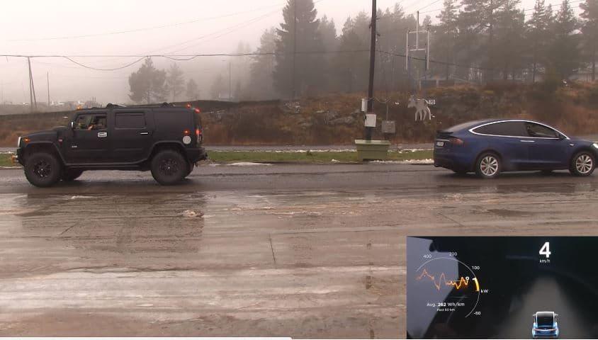 Tesla Model X en Hummer H2 houden een Tug of War