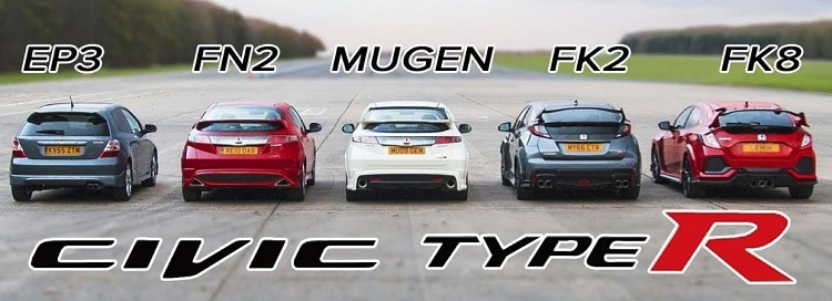 Vijf Honda Civic Type R generaties in een dragrace