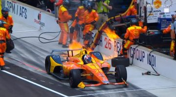 Indycar on fire Indy 500 2018