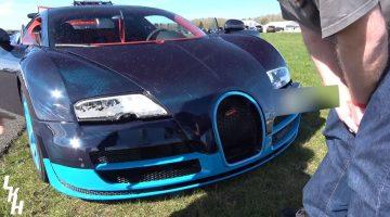 Bugatti Veyron Grandsport Vitesse knalt tegen afzetting