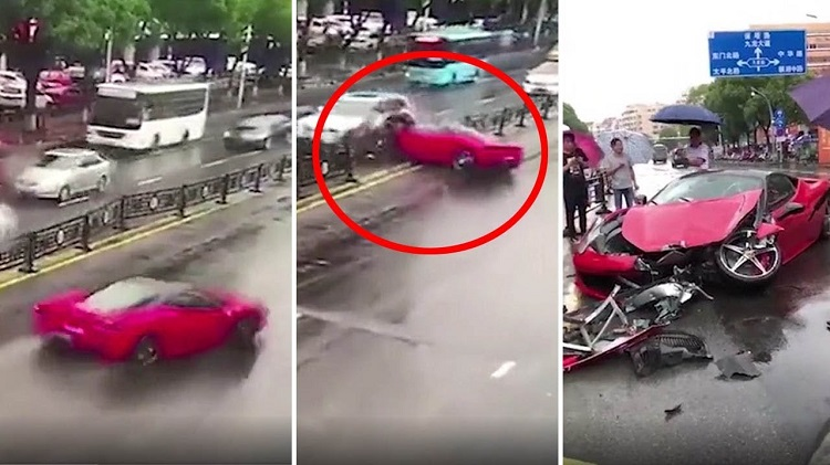 Ferrari 458 Crash China