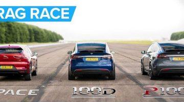 Jaguar I-Pace racet tegen Tesla Model X 100D & P100D