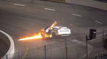 Vader trekt zoon uit brandende raceauto