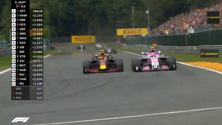 Inhaalactie Max Verstappen Spa-Francorchamps
