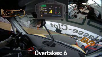 Porsche-coureur passeert 13 auto's in 1 ronde