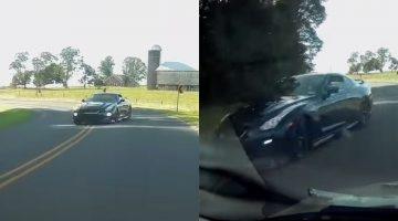 Nissan GT-R mist Dashcammer op een haar