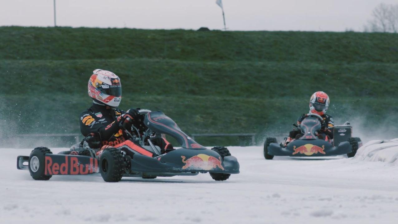 Max Verstappen en Pierre Gasly gaan ijskarten in Flevoland