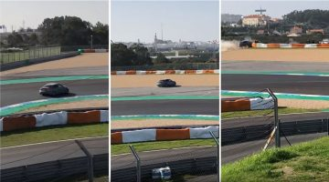 700 pk Audi RS3 knalt door vangrail op circuit Estoril