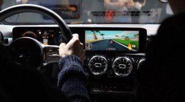 Mario Kart spelen met het infotainmentsysteem in de Mercedes CLA