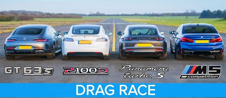 Tesla Model S vs AMG GT 4 vs BMW M5 vs Panamera Turbo S