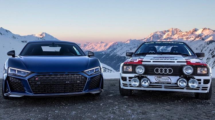 Audi Quattro ontmoet R8 V10 Performance in de Alpen