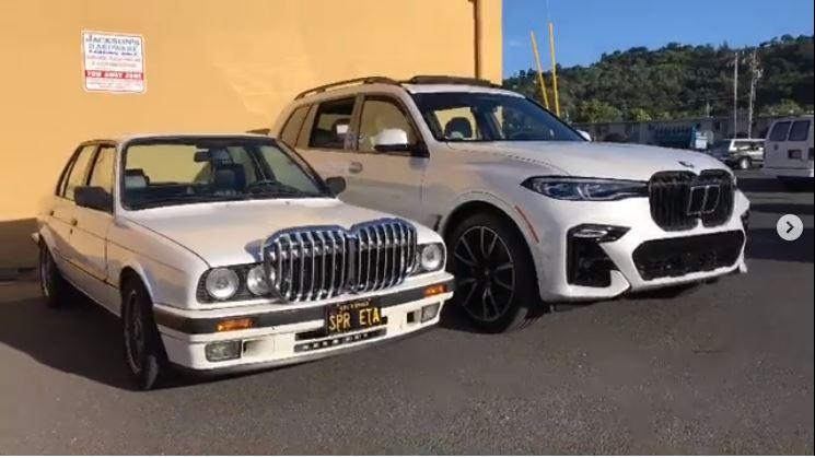 BMW X7 grill op een BMW E30