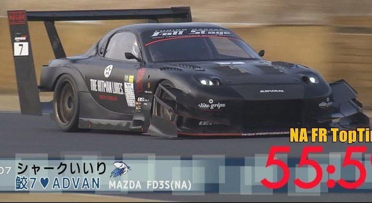 Gevleugelde Mazda RX-7 klokt Tsukuba in 55 sec