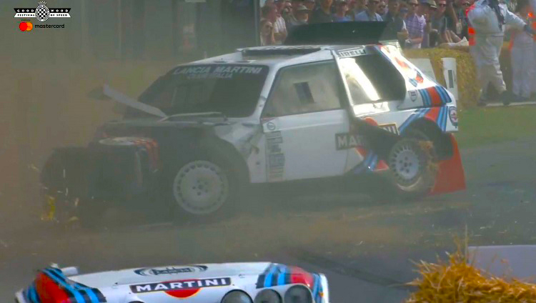 Lancia Delta S4 crasht tijdens Goodwood
