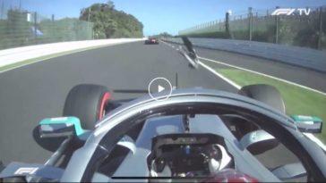 Leclerc wing endplate op Hamilton