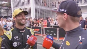 Max en Daniel interviewen elkaar na GP Mexico