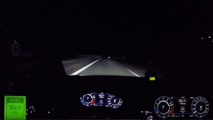 354 kmh met een Volkswagen Golf 7 R op de Autobahn