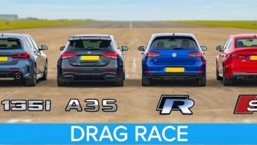 BMW M135i vs AMG A35 vs Audi S3 vs VW Golf R