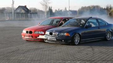 Drifters lassen twee BMW E46's aan elkaar